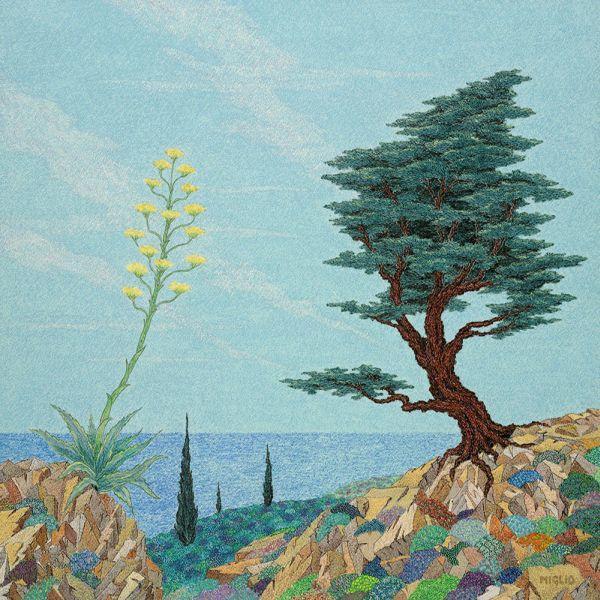 Francois Miglio Oil Pastel Print of Mediterranean Landscape