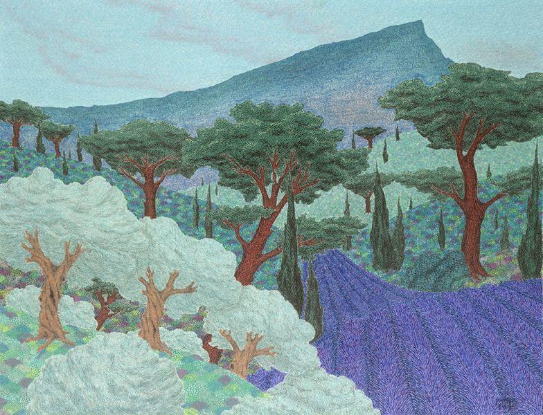 Francois Miglio Oil Pastel Print of Landscape