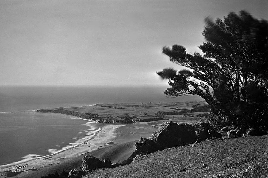 Moulin Studios Moulin Studios Historical Black and White Photo Print of Bay Area coast line