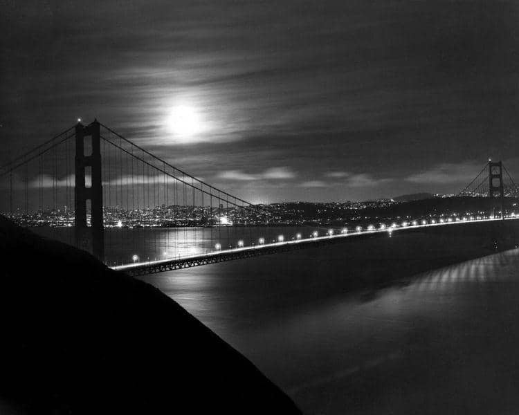 Moulin Studios Historical Black and White Photo Print of Golden Gate Bridge