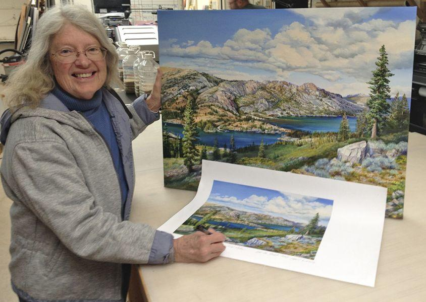Rebecca Holland with Painting and Print