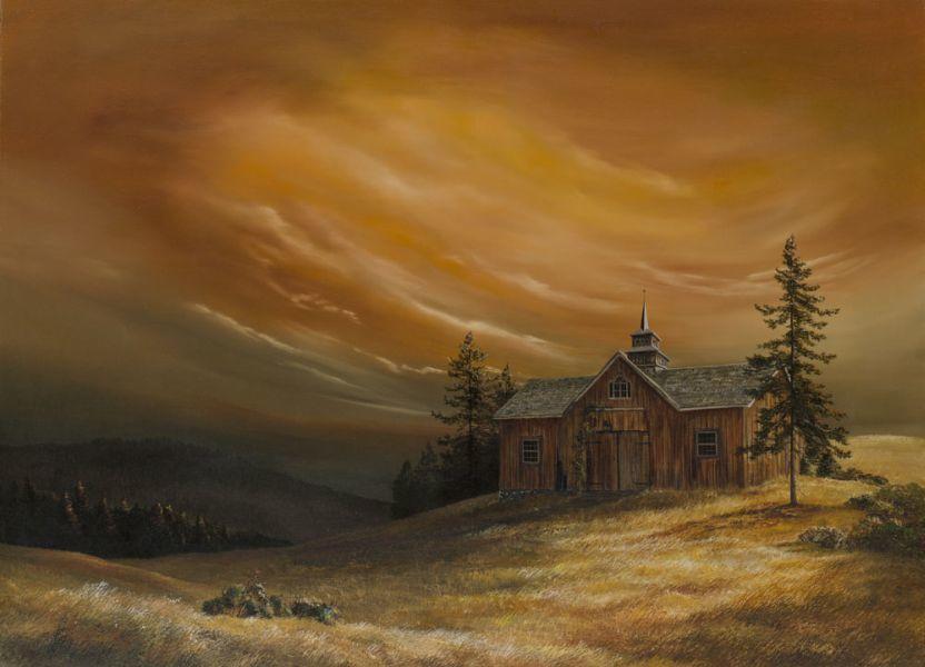 Rebecca Holland Fine Art Print of Landscape with Barn