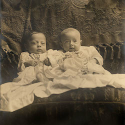 photo of a restored antique photograph of babies