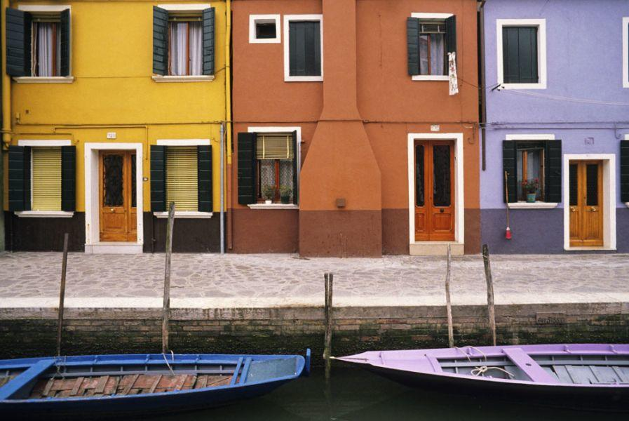 """Roberto Soncin Gerometta Exhibition """"Venice Reflections"""" - canal, boats and buildings of the Island of Burano"""