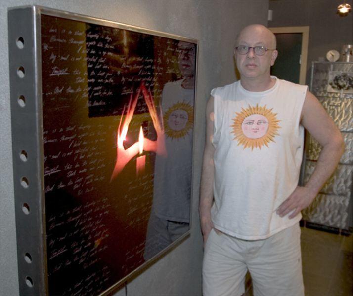 Valentin Popov in front of his work