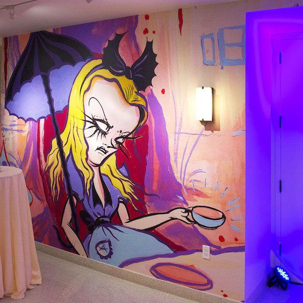 Camille Rose Garcia's Alice Mural at Exhibition in Walt Disney Family Museum