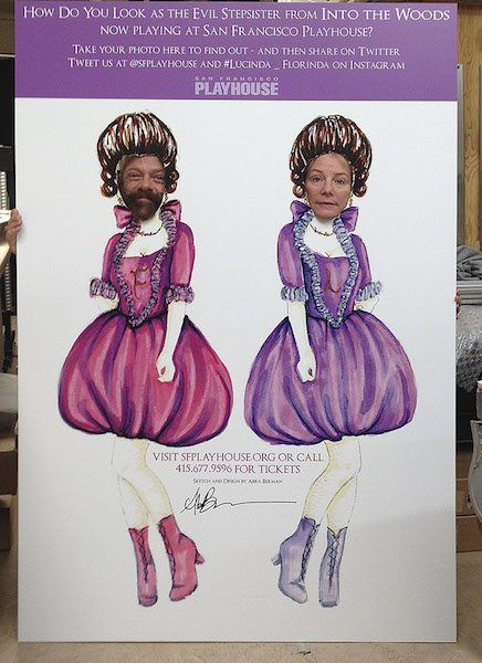 Promo Cut-out of the Wicked Step Sisters for Into The Woods for SF Playhouse