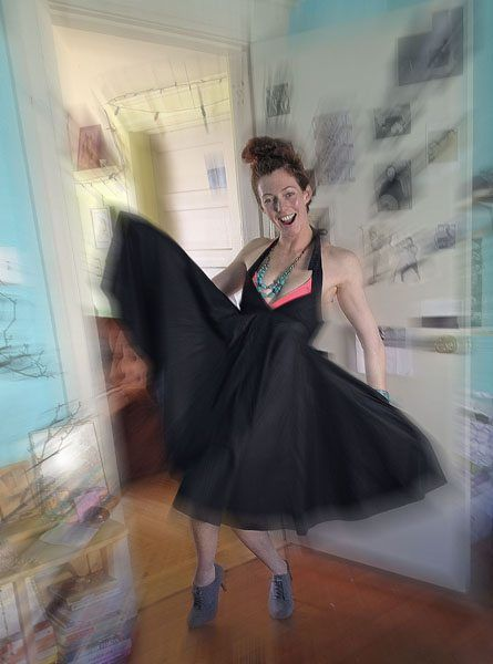 Smartphone photo of young woman dancing with blurred special effect