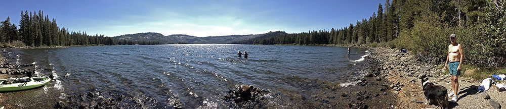 Panoramic Photo of Lake with People