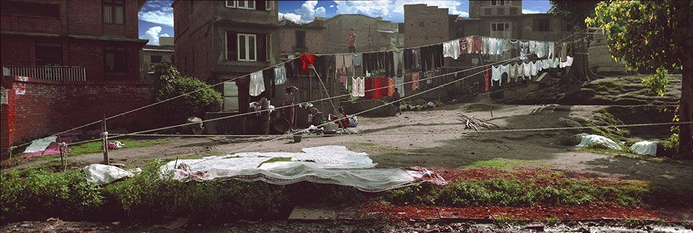 Panoramic Photo of Houses with Laundry Lines