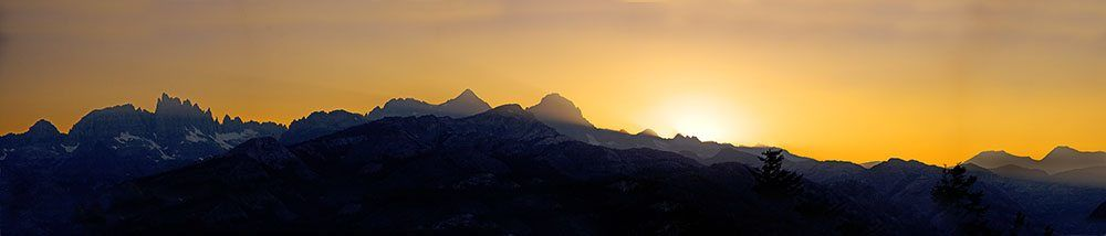Panoramic Photo of Sunset with Mountains