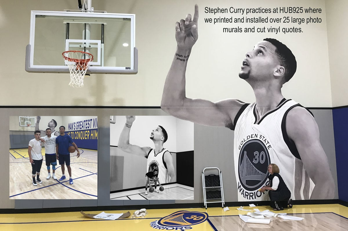 HUB925 Steph Curry wall mural collage