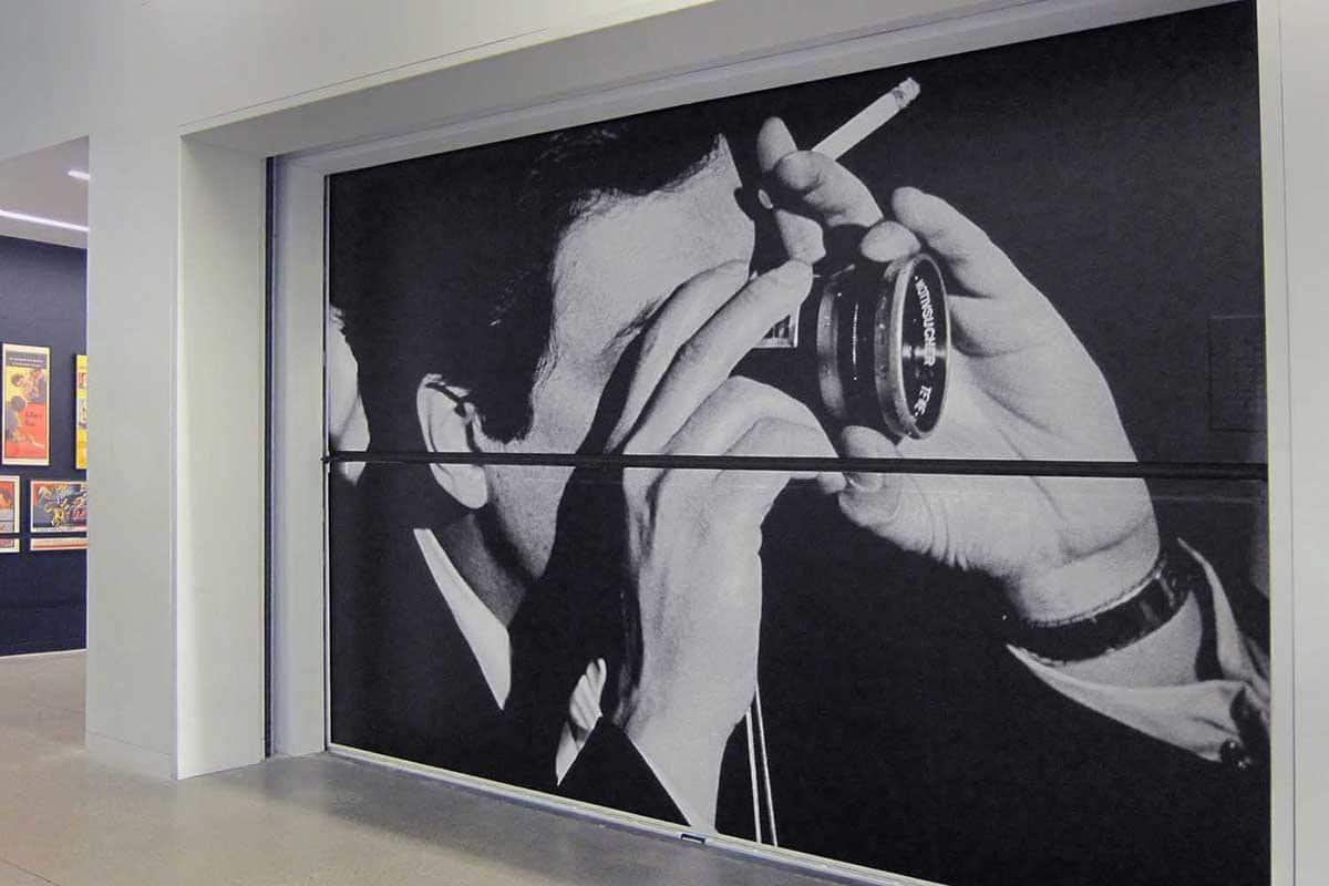 Stanley Kubrick exhibition mural on CJM Elevator door