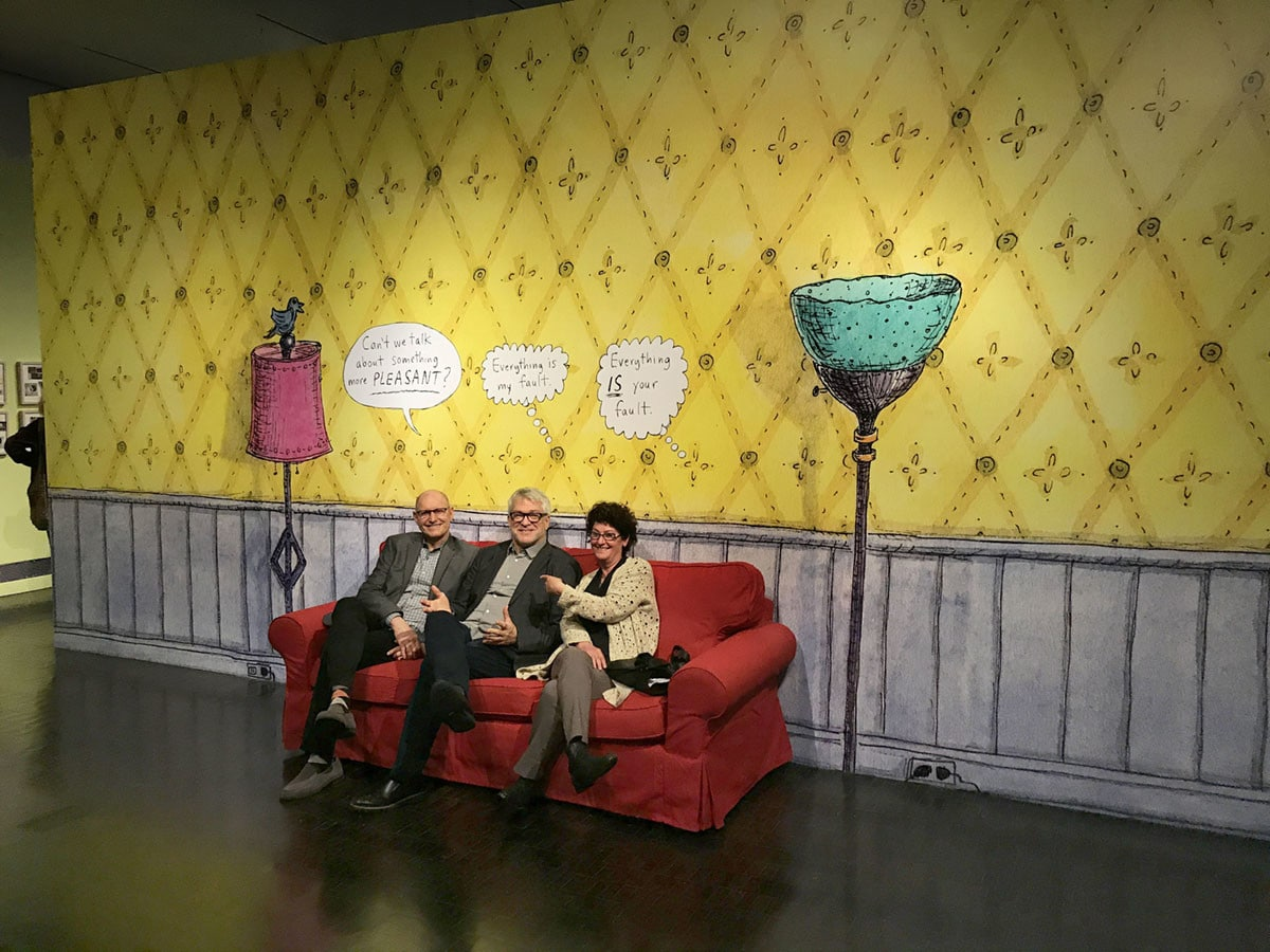 Roz Chast Red Sofa Mural at The CJM