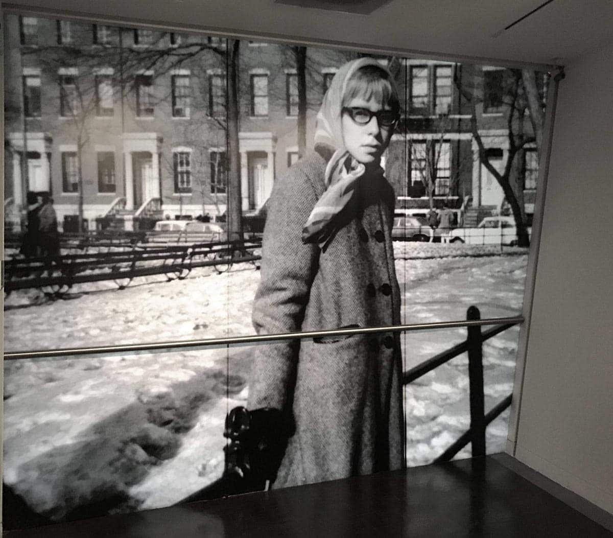 Roz Chast Black and White Portrait Mural at The CJM Backlit Film
