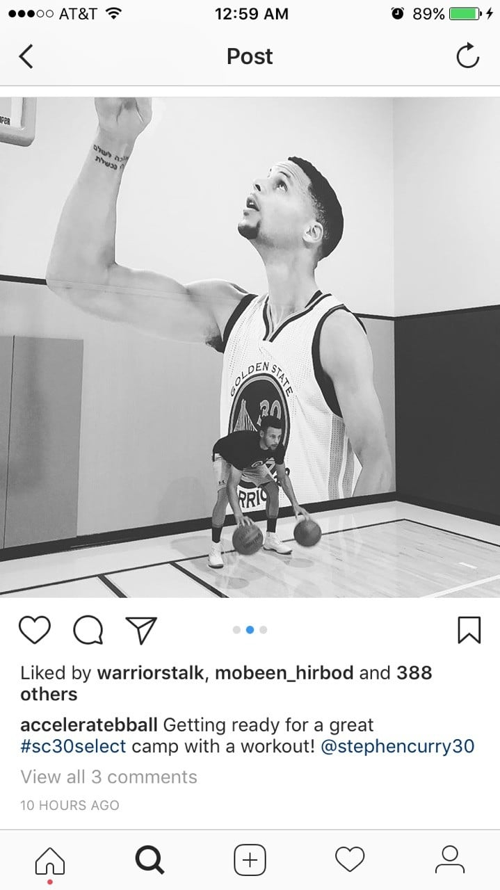 Steph Curry Instagram Post at HUB925