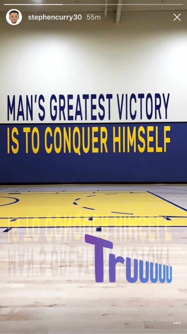 Steph Curry Instagram Post of HUB925 TextGraphics