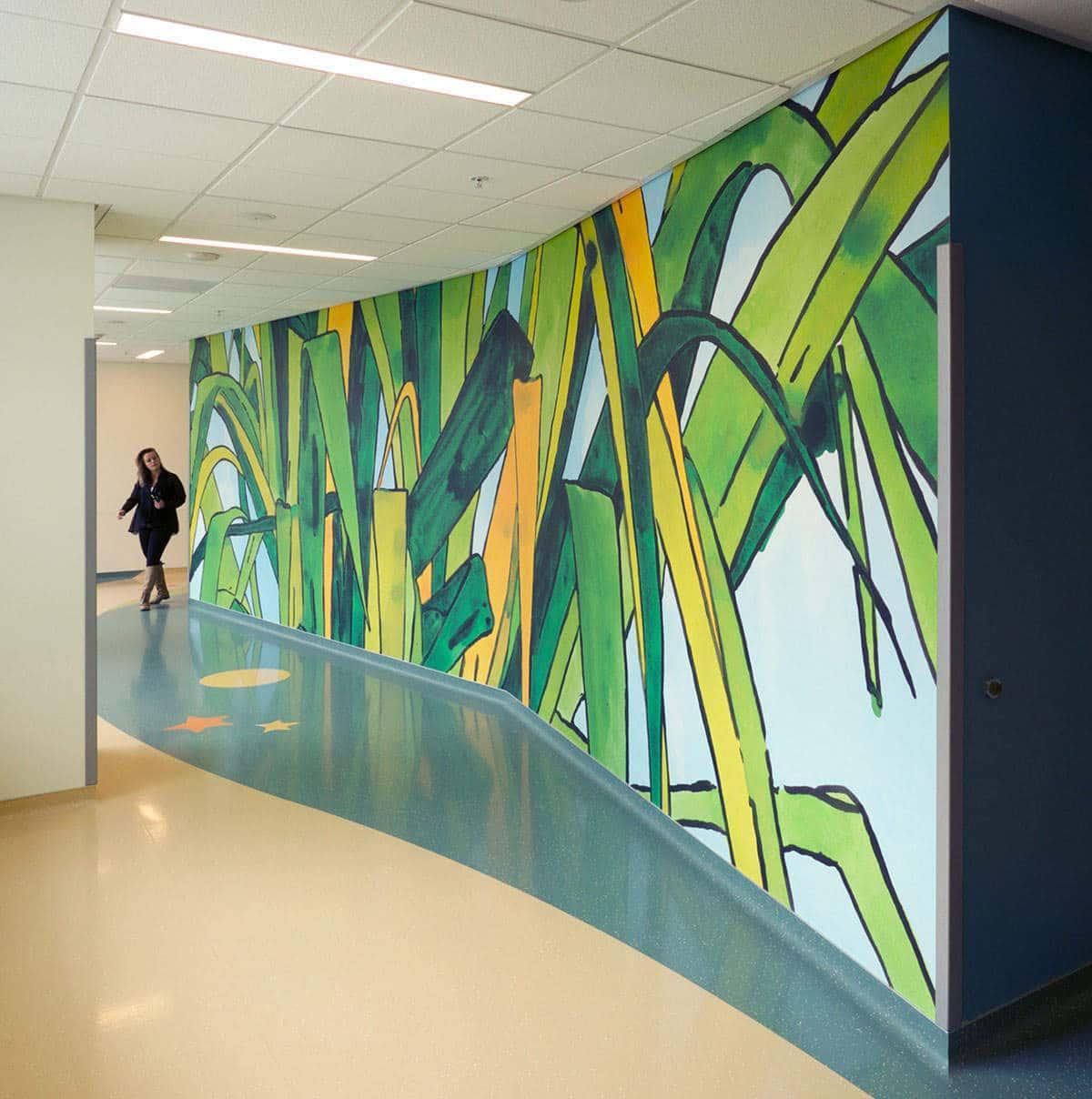 UCSF Dave Muller Big Leaves Hallway Mural and Sara