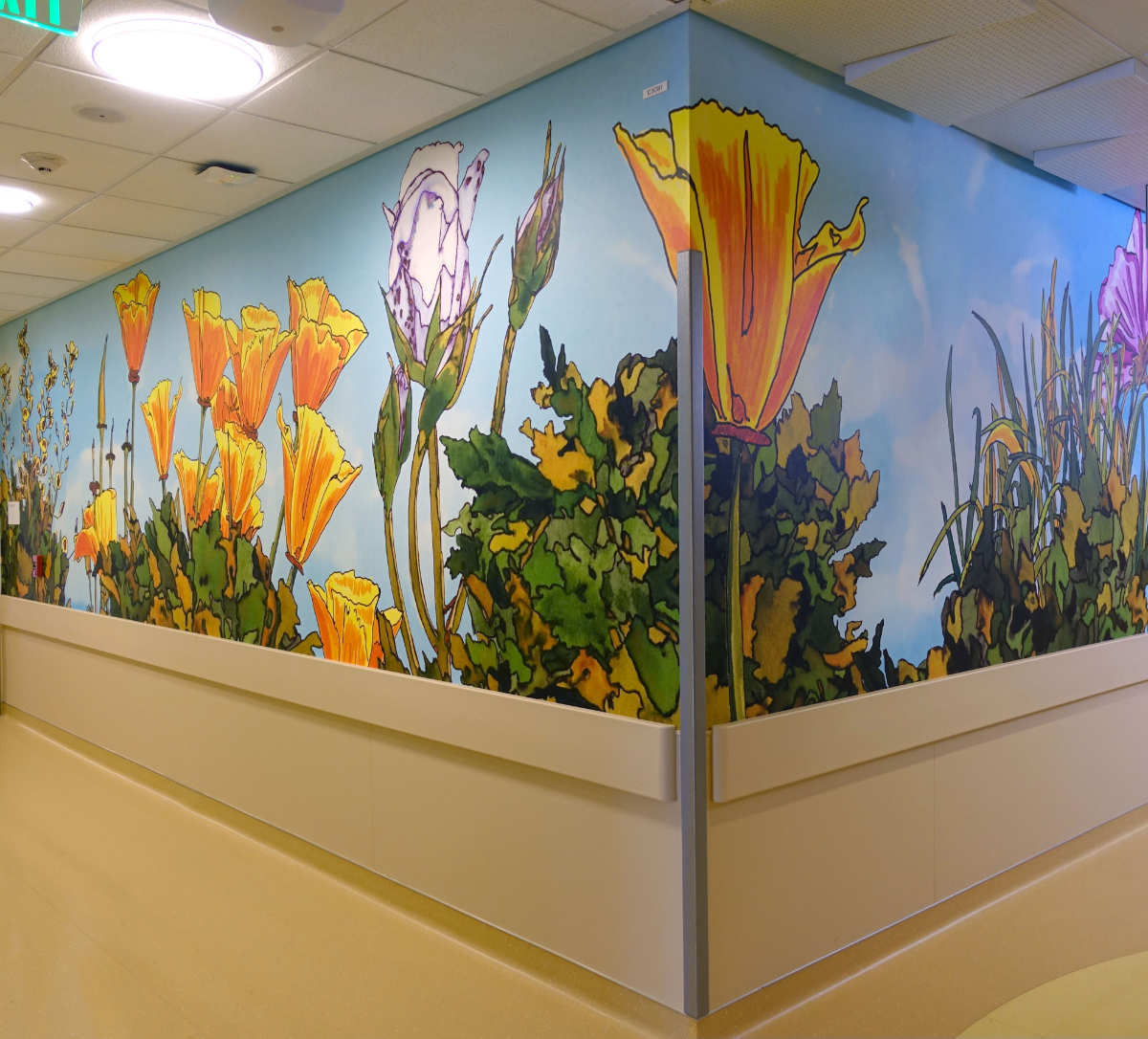 UCSF Dave Muller ICN Poppies Wall Mural