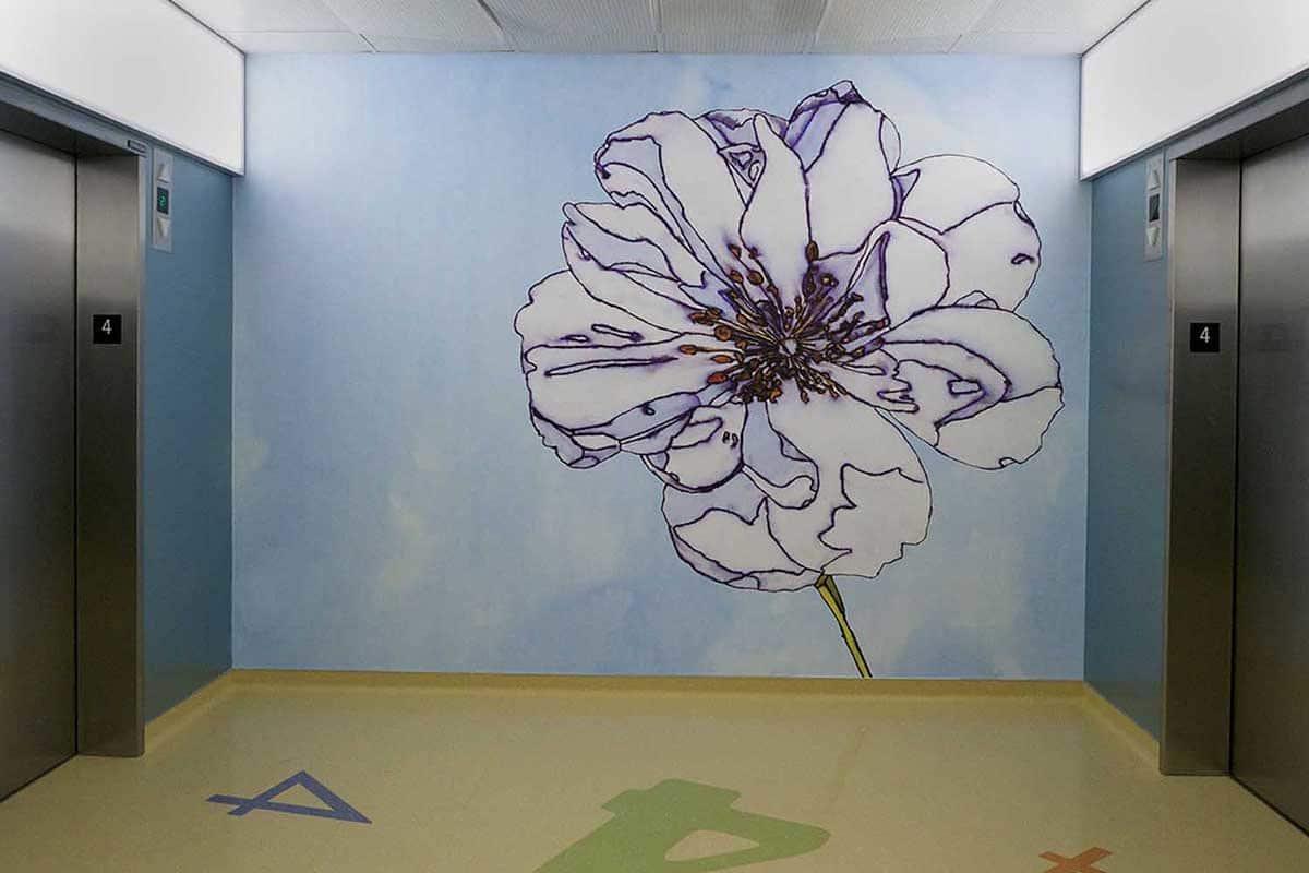 UCSF Dave Muller Elevator Flower Mural