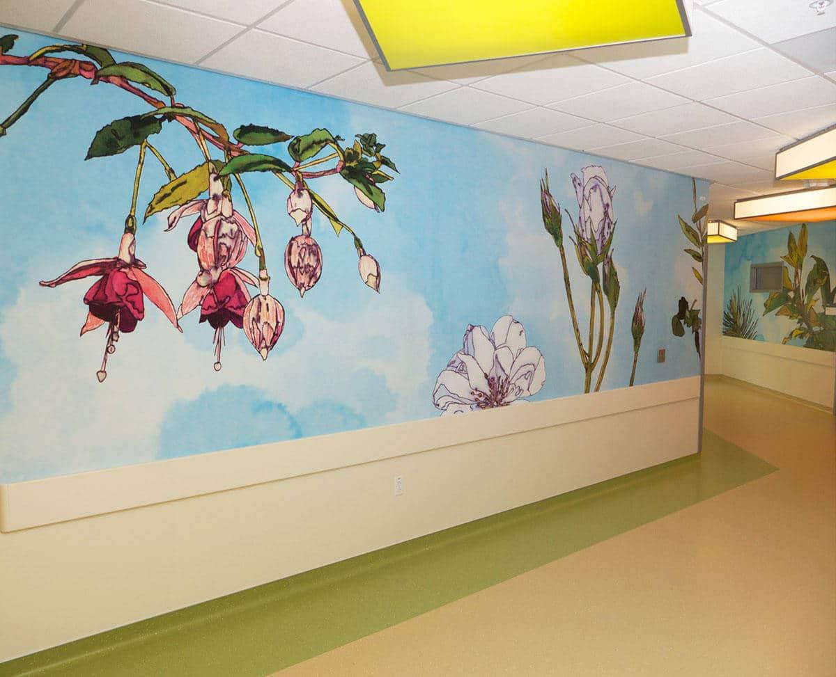 UCSF Fusia Flower Hallway Mural